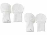 White Baby Mittens - Newborn size, 100% Cotton, Value Pack Set of 2 - Solid White