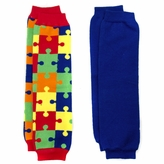 Autism Awareness Baby Leg Warmers Set of : Liam's Solid Blue and Puzzle Leggings
