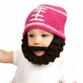 Pink Football Beanie with Beard - Girl Boy Toddler Kid (Medium)