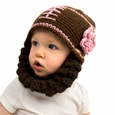 Brown and Pink Football Beanie with Beard - Girl Boy Toddler Kid (Medium)