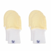 Newborn Baby Mittens - No Scratch Mittens 2 Pack, Cotton Baby Mitten - Yellow