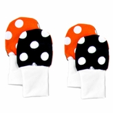 *SOLD OUT*Stay On Baby Mittens Set of 2 Sizes (0-6m & 6-12m) - Red and Black Dots