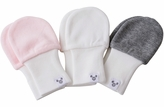 Baby Girl Mittens  - 3 to 6 Months,  Fits larger hands, Super Soft Cotton, Value Pack Set of 3 - Pink, Grey, White
