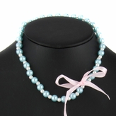 Pearl Ribbon Bow Necklace - Blue and White