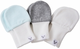 Newborn Baby Mittens - Blue, Grey and White, No Scratch Mittens Value Pack 3 Pairs, Soft Cotton