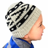 Medium Knit Beanie - Grey and Black Patterned Hat for Toddler.and Kid