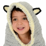 Large Wolf Hood - Grey Wolf Hood and cowl for kid to adult
