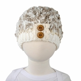 Small Fuzzy Beanie - Premium Knit Hat with Buttons for baby and toddler. Stretchable kid beanie, size 14 inches.