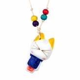Kids Ceramic Porcelain Hand Painted Colorful Cat Pendant with Adjustable Necklace