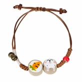 Little Girls Ceramics Hand Painted Bunny & Carrot Charm Bracelet with Bells
