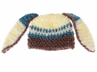 Small Bunny Beanie - Premium Blue and Brown Bunny Hat with Ears for baby and toddler. Stretchable kid beanie, size 14 inches.