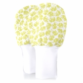 Newborn Baby Mittens - Green Elephants, No Scratch Flannel Mittens, Set of 1