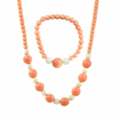 Little Girl Peach Acrylic Bead Necklace & Bracelet Set