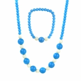 Little Girl Blue Acrylic Bead Necklace & Bracelet Set