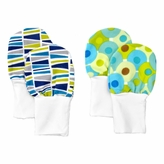 Newborn Baby Mittens - Blue and Green patterns, No Scratch Flannel Mittens, Set of 2