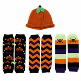 Little Kid Halloween Leggings and Pumpkin Hat Set (Ages 2- 4)