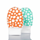 No Scratch Baby Mittens: Colorful Dots - Tangerine Turquoise, 0 - 6 Months