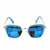 Kids UV400 Aviator Style Sunglasses with Blue and Gold Frames - (ages 5+)