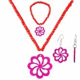 Little Girl Red Flower Jewelry Set - Necklace, Bracelet, and Earrings