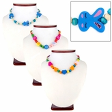 Set of 3 - Necklace and Bracelet Sets for Girls - Multicolor wooden bead Necklace sets with Butterfly, Bunny and Swirl Designs - Play Jewelry - sizes 15-16 inches