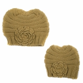Tan Mommy and Me Beanie Set - Girl Toddler Kid Adult