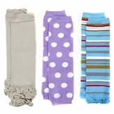Layla's Little Girl Leg Wamers Set of 3 - Tan, Striped, Polka Dot