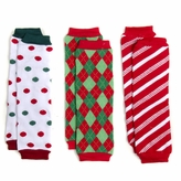 Christmas Cutie Baby Leg Warmers Set of 3  - Polka Dots, Argyle, Candy Cane Striped - Final Sale