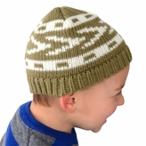 Medium Knit Beanie - Green and White Patterned Hat for Toddler.and Kid