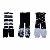 Kids Legging Trousers 3 Piece Set - Black, Grey, White