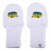 Newborn Stay On Cotton White Baby Mittens - Camper