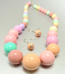 Assorted Multi Pastel Beads Earring & Necklace Set