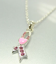 Pink Crystals Breast Cancer Necklace Silver