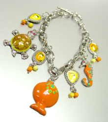 Bracelet 050806028552 Orange Enamel Sea Life Charm Bracelet