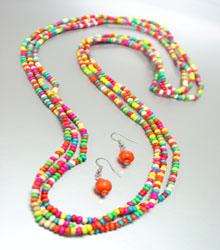 Multi Beads Necklace Set with Earrings
