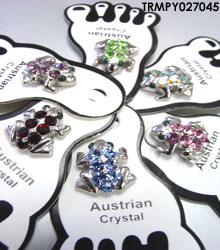 Assorted Crystals Frog Toe Rings