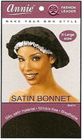 Annie Satin bonnet X-Large Black
