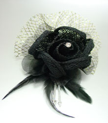 Black Linen Tulle Feathers Flower Corsage
