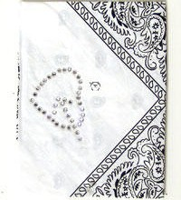 Bandana White Stone Heart Shape