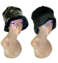 Black Winter Style Hat Reversible Faux Leather and Fur