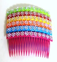 Color Side Hair Comb with Flower Rhinestones