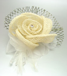 Creme Linen Tulle Feathers Flower Corsage