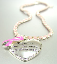 Pink Ribbon Breast Cancer Necklace