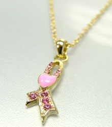 Pink Crystals Breast Cancer Necklace Gold