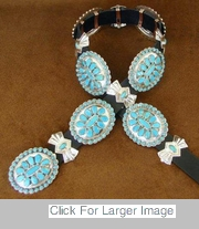 Navajo Turquoise Silver Concho Belts