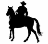 Horse And Rider Silhouette - Cowboy 12