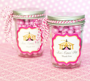 Pink Circus Party Personalized Mini Mason Jars