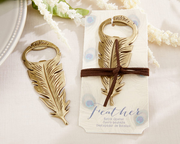 """""""Gilded Gold"""" Feather Bottle Opener"""