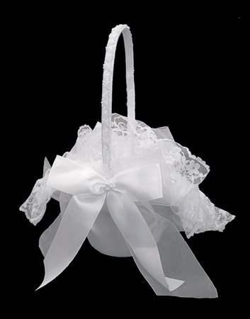 Flower Girl Basket with Pearl Ribbon & Lace Accent