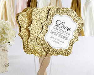 Gold Glitter Hand Fan (Personalization Available) (Set of 12)