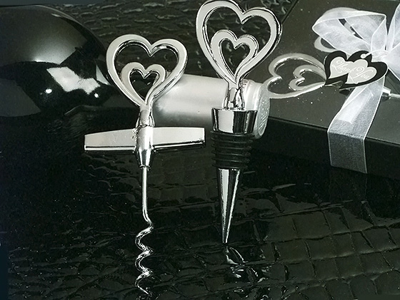 """Two Hearts are Better Than One"" Wine Opener &  Bottle Stopper Combination"